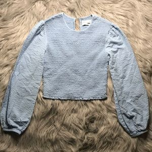 Urban Outfitters Blue Scrunch Top w/ Puffy Sleeves